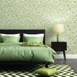 Contemporary fresh elegant green bedroom with rug